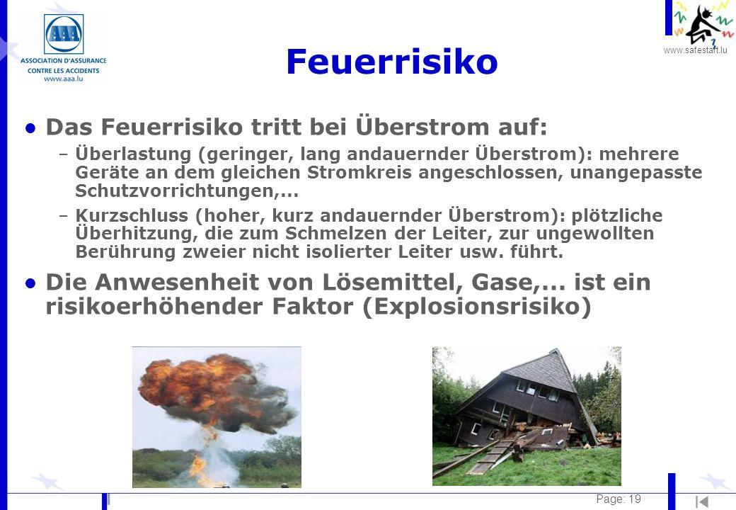 Feuerrisiko Das Feuerrisiko tritt bei Überstrom auf: