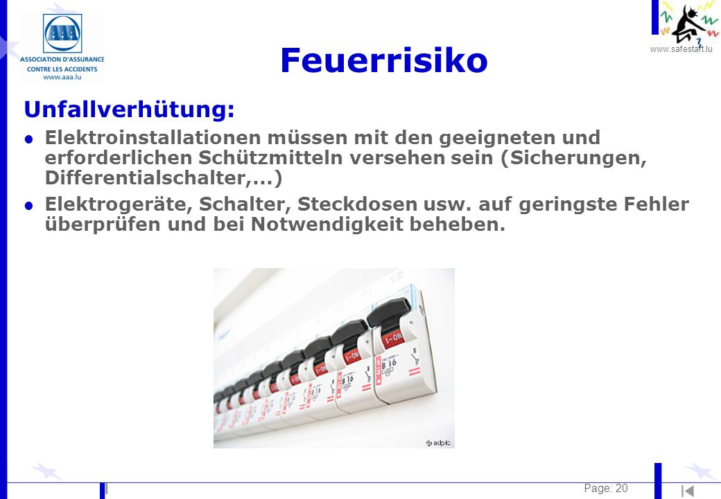 Feuerrisiko Unfallverhütung: