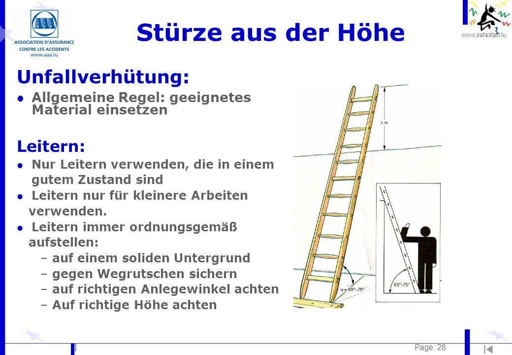 Stürze aus der Höhe Unfallverhütung: Leitern: