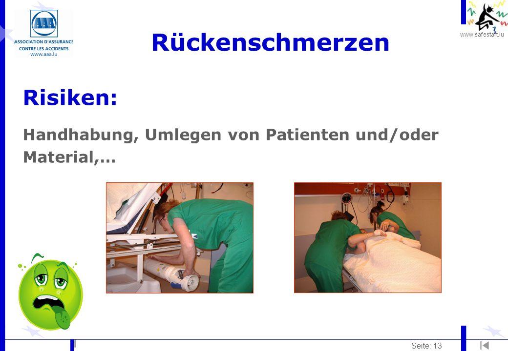 Rückenschmerzen Risiken: Handhabung, Umlegen von Patienten und/oder