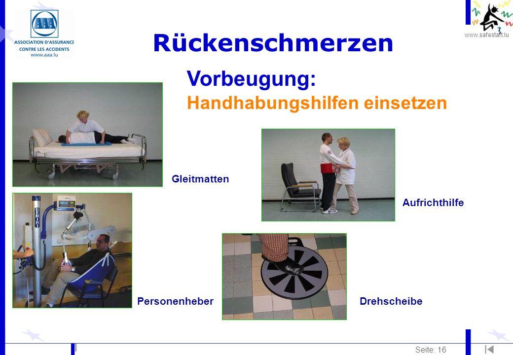 Rückenschmerzen Vorbeugung: Handhabungshilfen einsetzen Gleitmatten