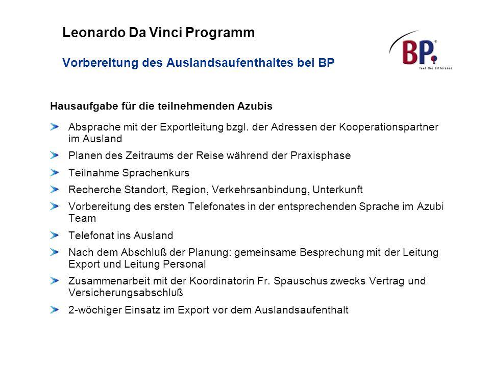Leonardo Da Vinci Programm Vorbereitung des Auslandsaufenthaltes bei BP