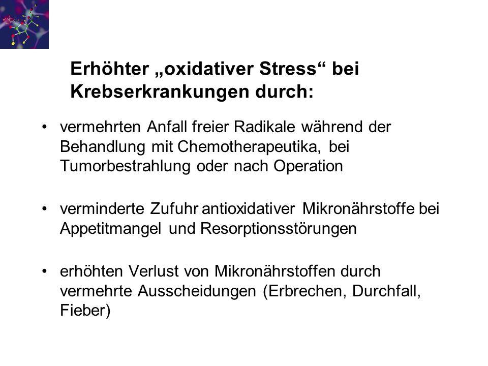 "Erhöhter ""oxidativer Stress bei Krebserkrankungen durch:"