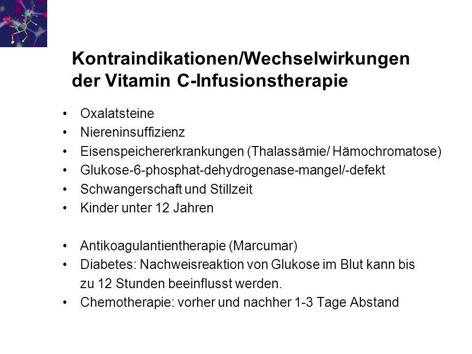 Kontraindikationen/Wechselwirkungen der Vitamin C-Infusionstherapie