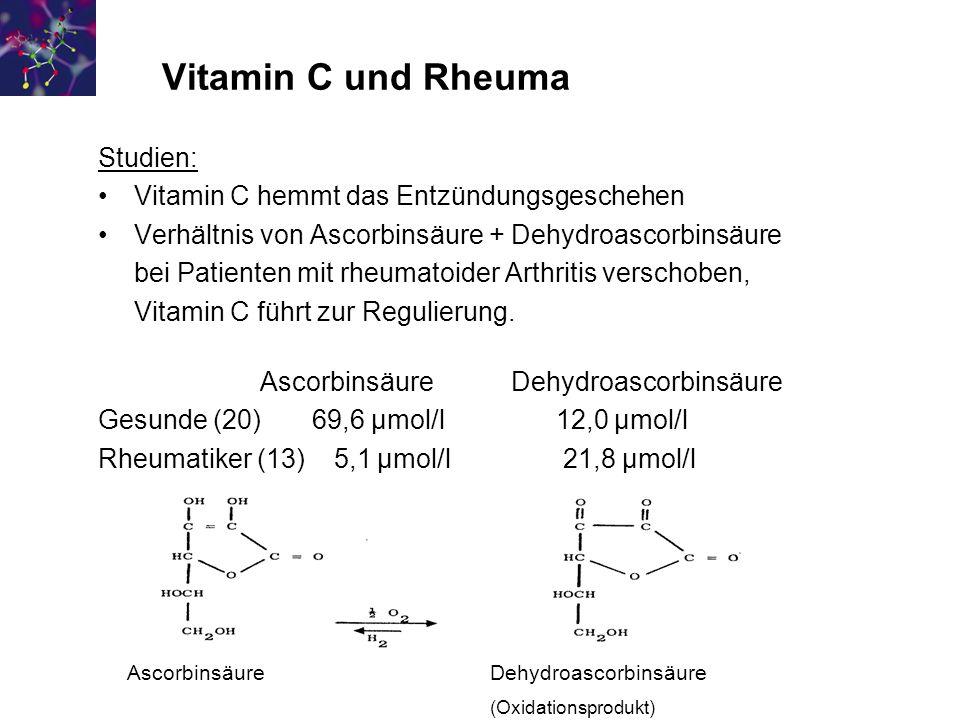 Vitamin C und Rheuma Studien: Vitamin C hemmt das Entzündungsgeschehen