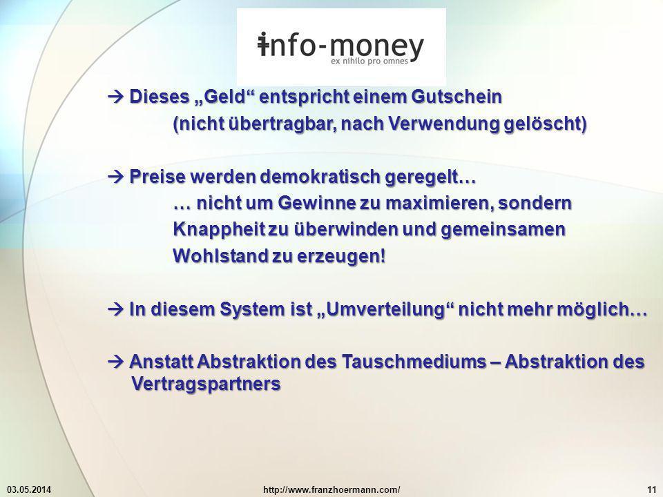 """ Dieses """"Geld entspricht einem Gutschein"""