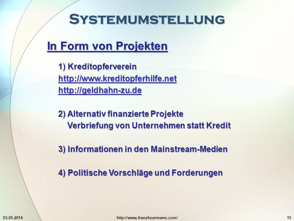 Systemumstellung In Form von Projekten 1) Kreditopferverein