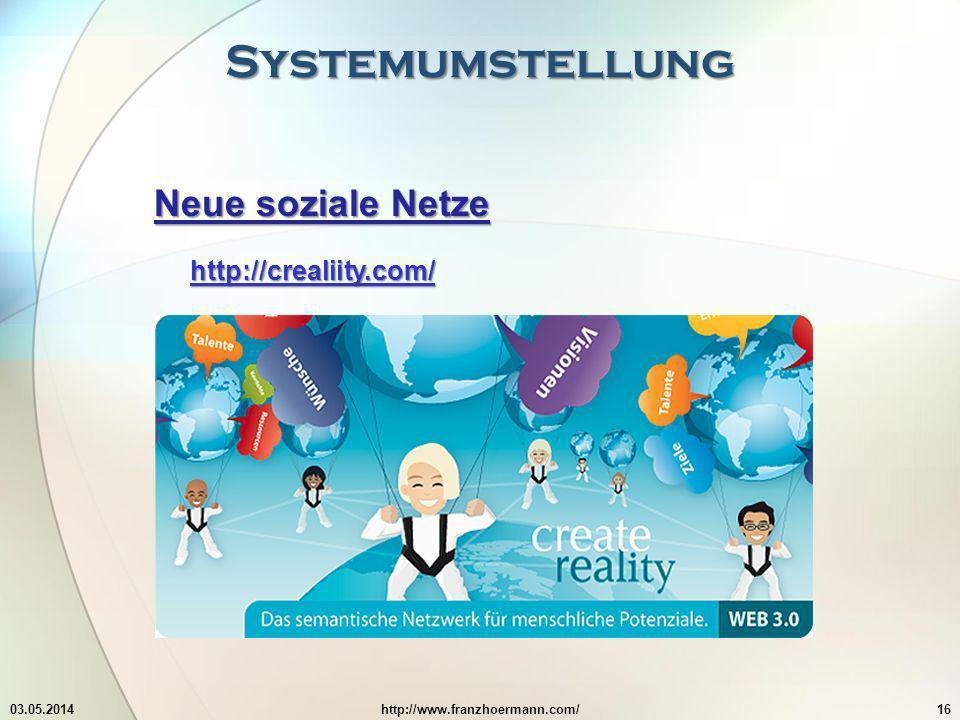 Systemumstellung Neue soziale Netze http://crealiity.com/ 03.05.2014