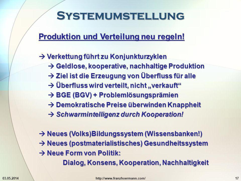 Systemumstellung Produktion und Verteilung neu regeln!