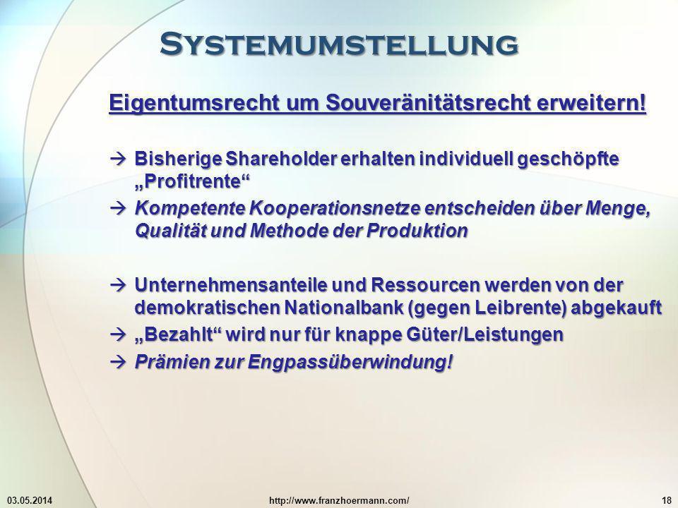 Systemumstellung Eigentumsrecht um Souveränitätsrecht erweitern!