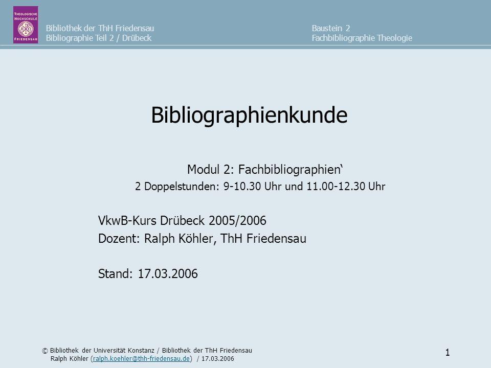 Modul 2: Fachbibliographien'