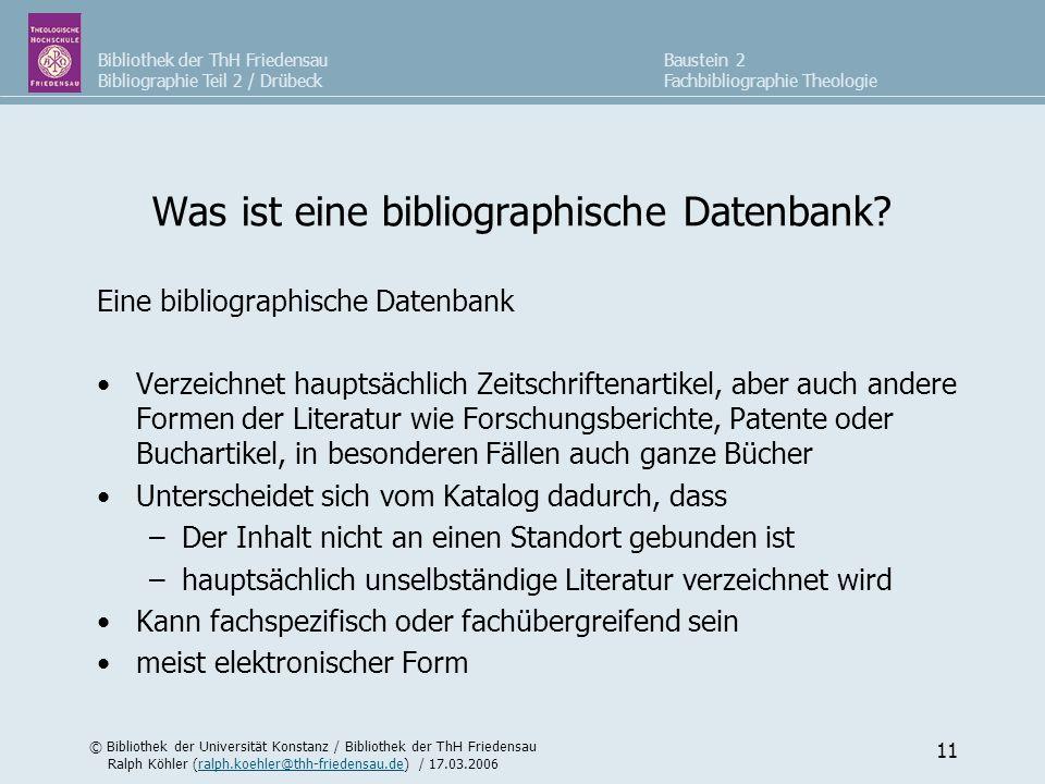 Was ist eine bibliographische Datenbank