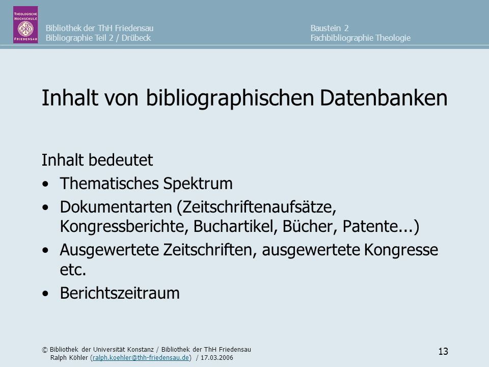 Inhalt von bibliographischen Datenbanken