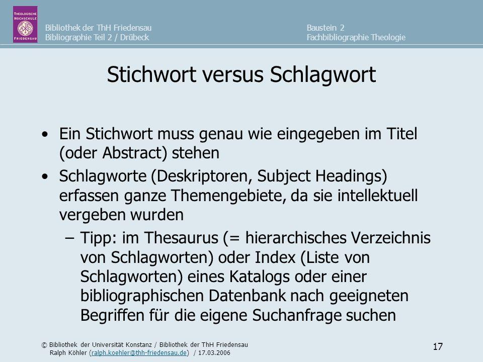 Stichwort versus Schlagwort