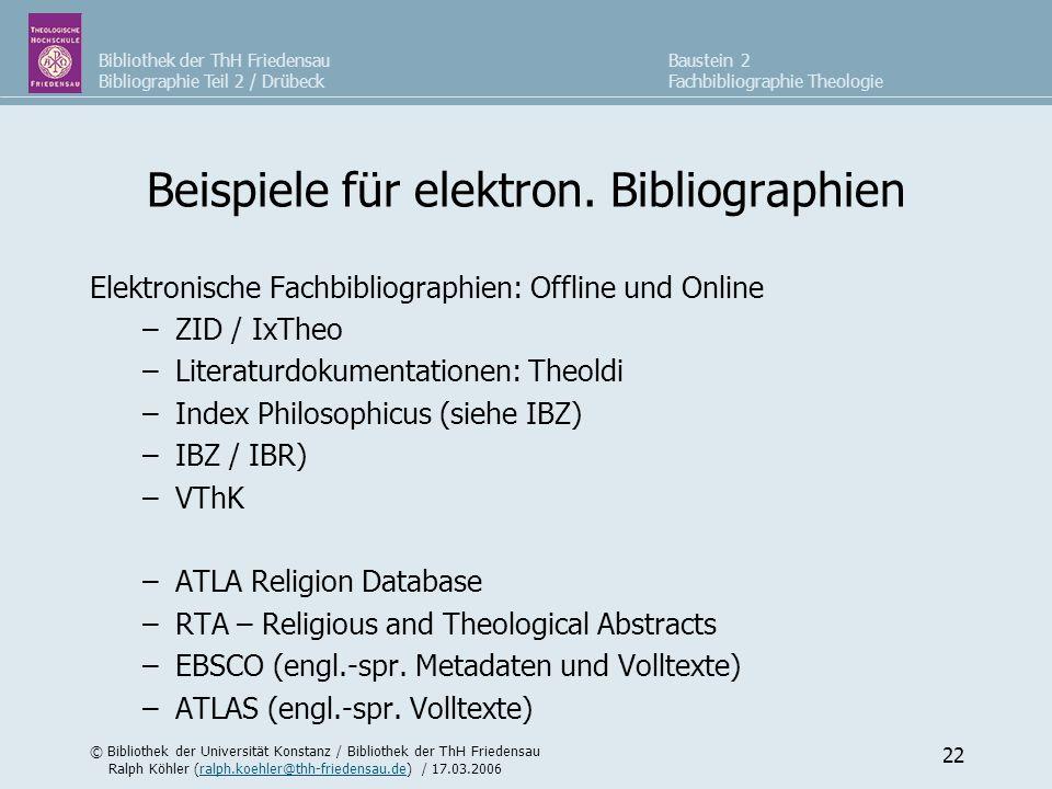 Beispiele für elektron. Bibliographien