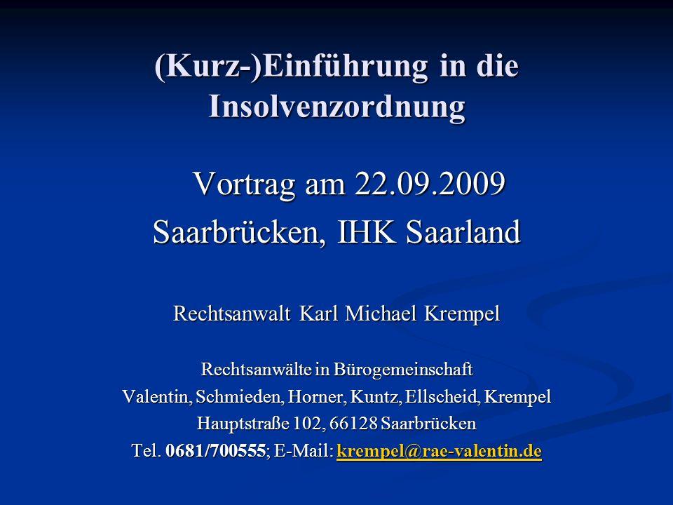 (Kurz-)Einführung in die Insolvenzordnung