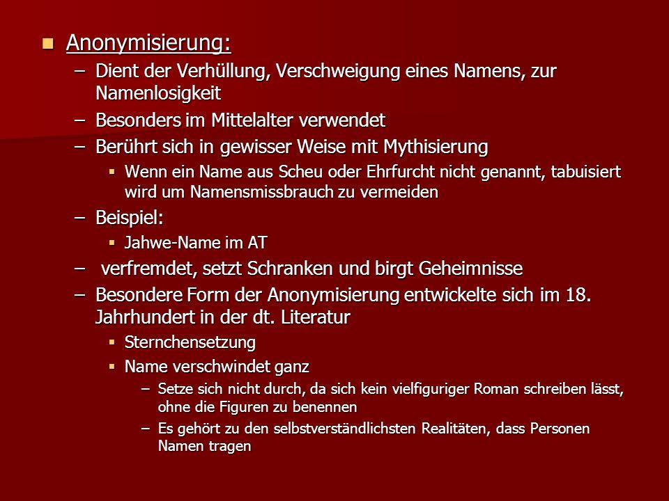 Anonymisierung: Dient der Verhüllung, Verschweigung eines Namens, zur Namenlosigkeit. Besonders im Mittelalter verwendet.