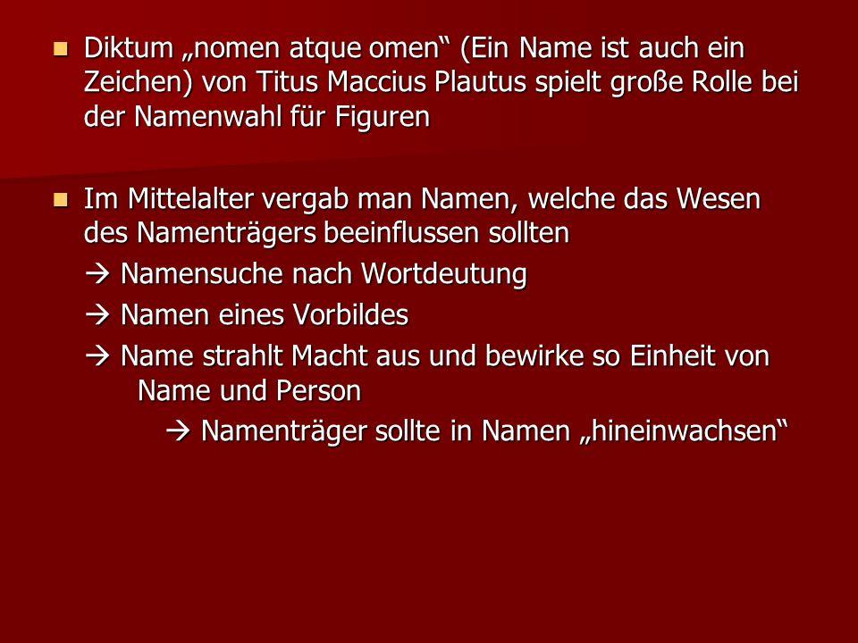 """Diktum """"nomen atque omen (Ein Name ist auch ein Zeichen) von Titus Maccius Plautus spielt große Rolle bei der Namenwahl für Figuren"""