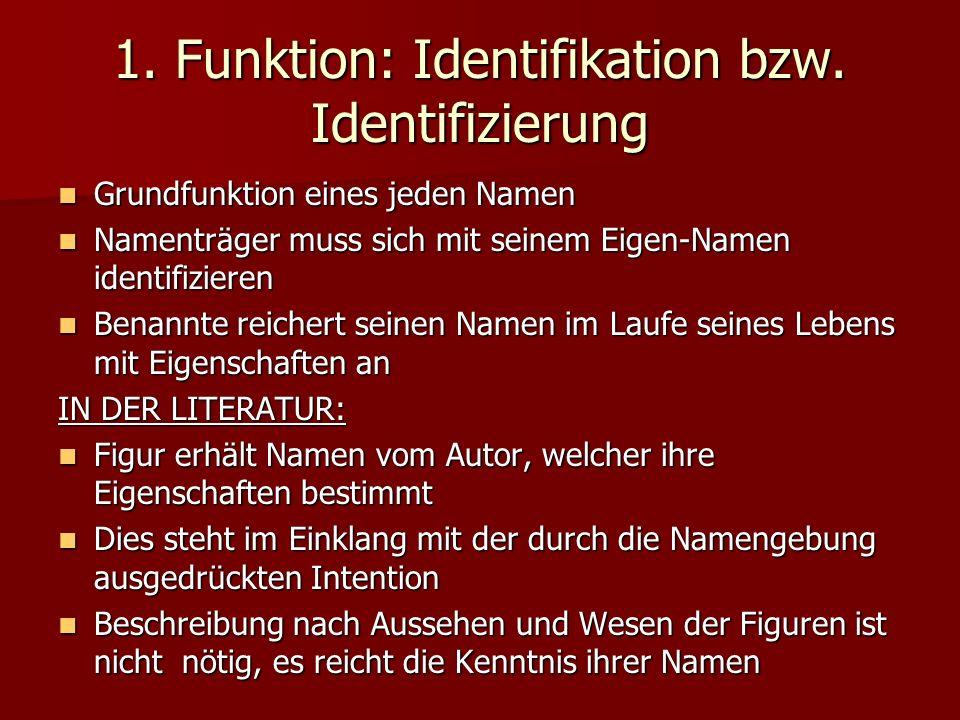 1. Funktion: Identifikation bzw. Identifizierung