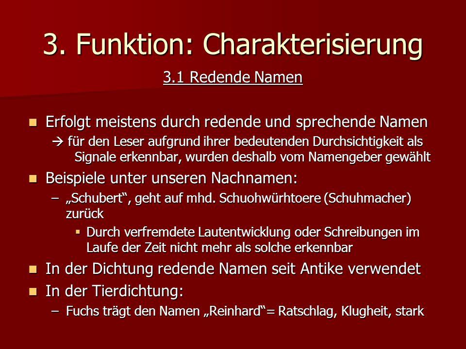 3. Funktion: Charakterisierung
