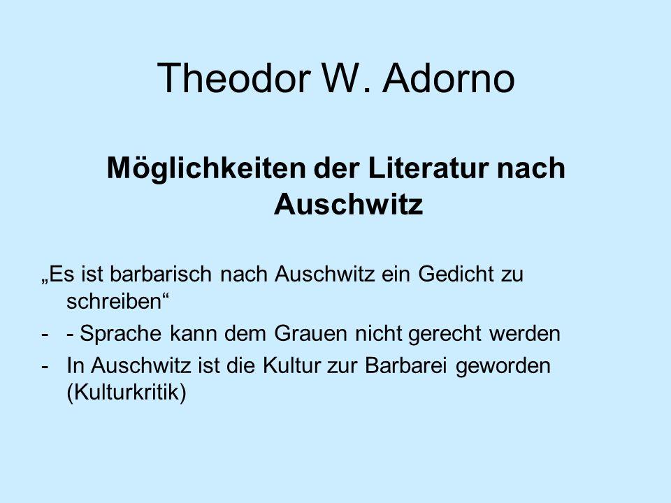 Möglichkeiten der Literatur nach Auschwitz