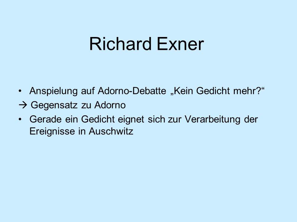 """Richard Exner Anspielung auf Adorno-Debatte """"Kein Gedicht mehr"""