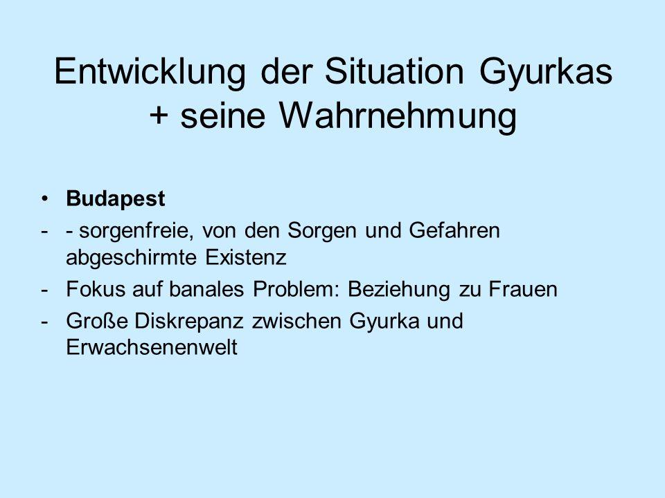 Entwicklung der Situation Gyurkas + seine Wahrnehmung