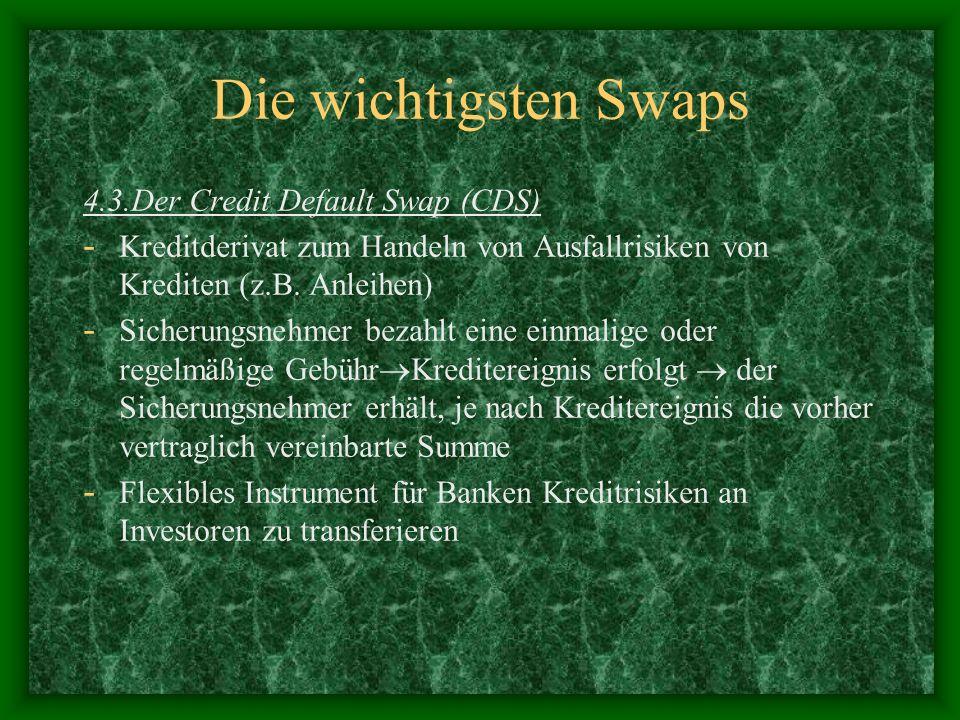 Die wichtigsten Swaps 4.3.Der Credit Default Swap (CDS)