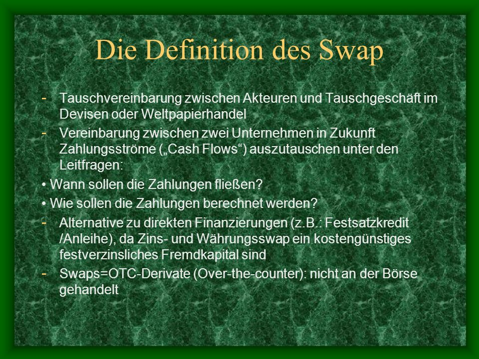Die Definition des Swap