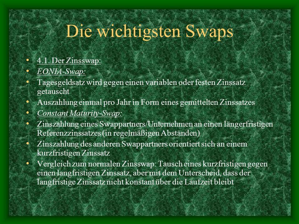 Die wichtigsten Swaps 4.1. Der Zinsswap: EONIA-Swap: