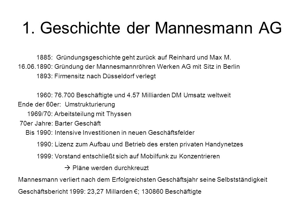 1. Geschichte der Mannesmann AG