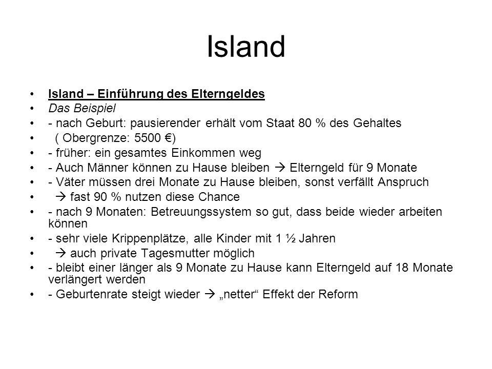 Island Island – Einführung des Elterngeldes Das Beispiel