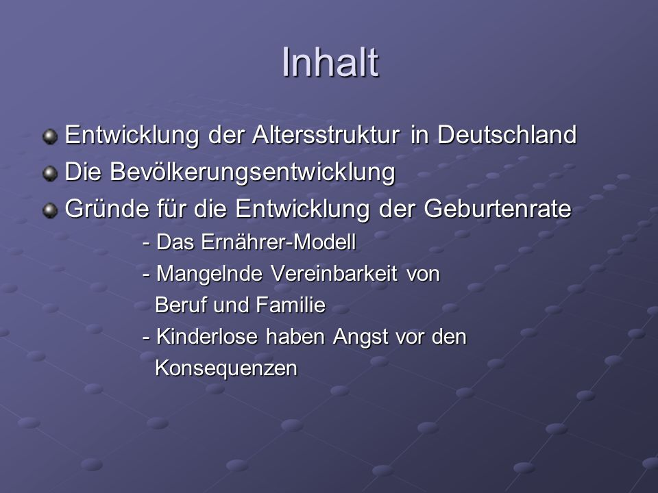 Inhalt Entwicklung der Altersstruktur in Deutschland