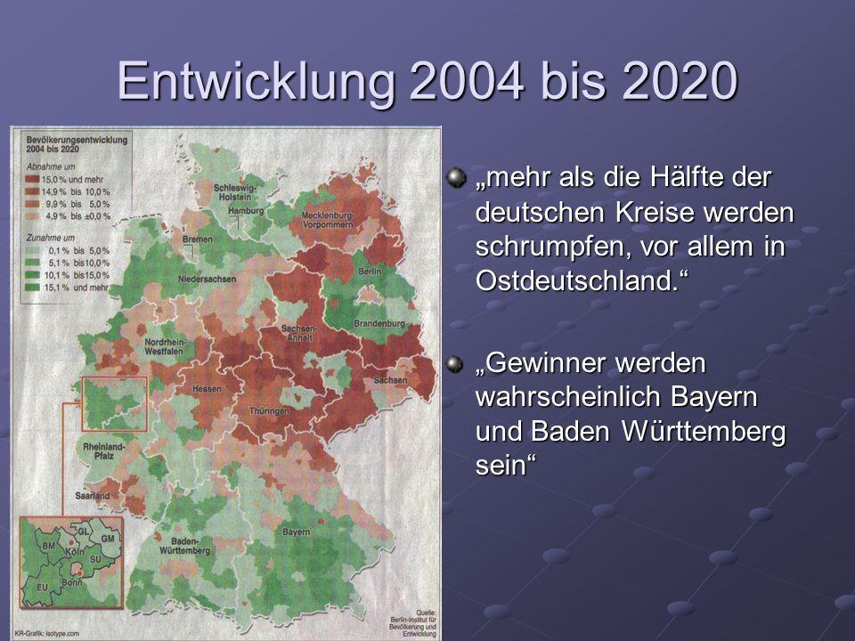 """Entwicklung 2004 bis 2020 """"mehr als die Hälfte der deutschen Kreise werden schrumpfen, vor allem in Ostdeutschland."""