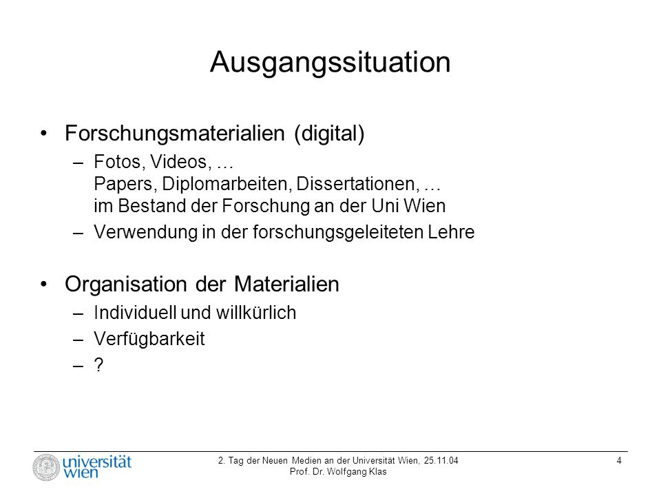 Ausgangssituation Forschungsmaterialien (digital)