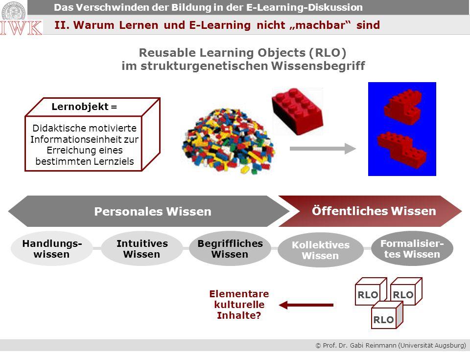 Reusable Learning Objects (RLO) im strukturgenetischen Wissensbegriff