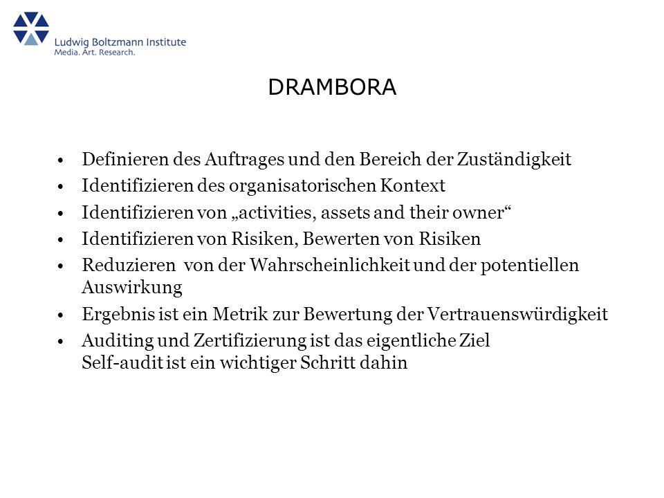 DRAMBORA Definieren des Auftrages und den Bereich der Zuständigkeit