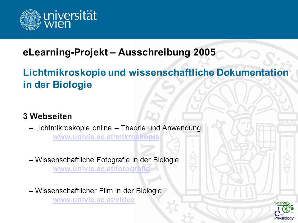 eLearning-Projekt – Ausschreibung 2005