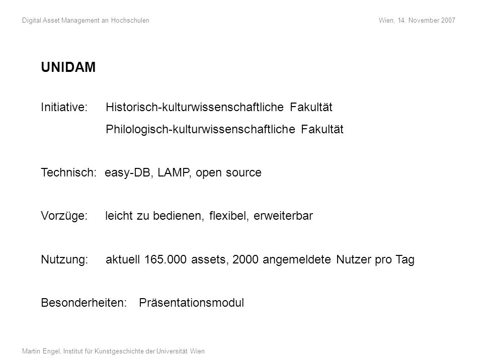 UNIDAM Initiative: Historisch-kulturwissenschaftliche Fakultät