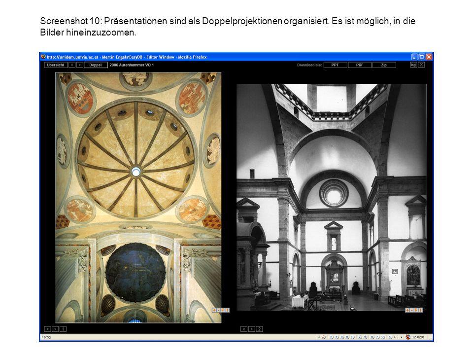 Screenshot 10: Präsentationen sind als Doppelprojektionen organisiert