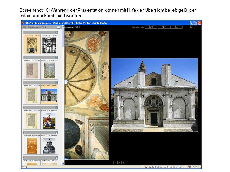 Screenshot 10: Während der Präsentation können mit Hilfe der Übersicht beliebige Bilder miteinander kombiniert werden.