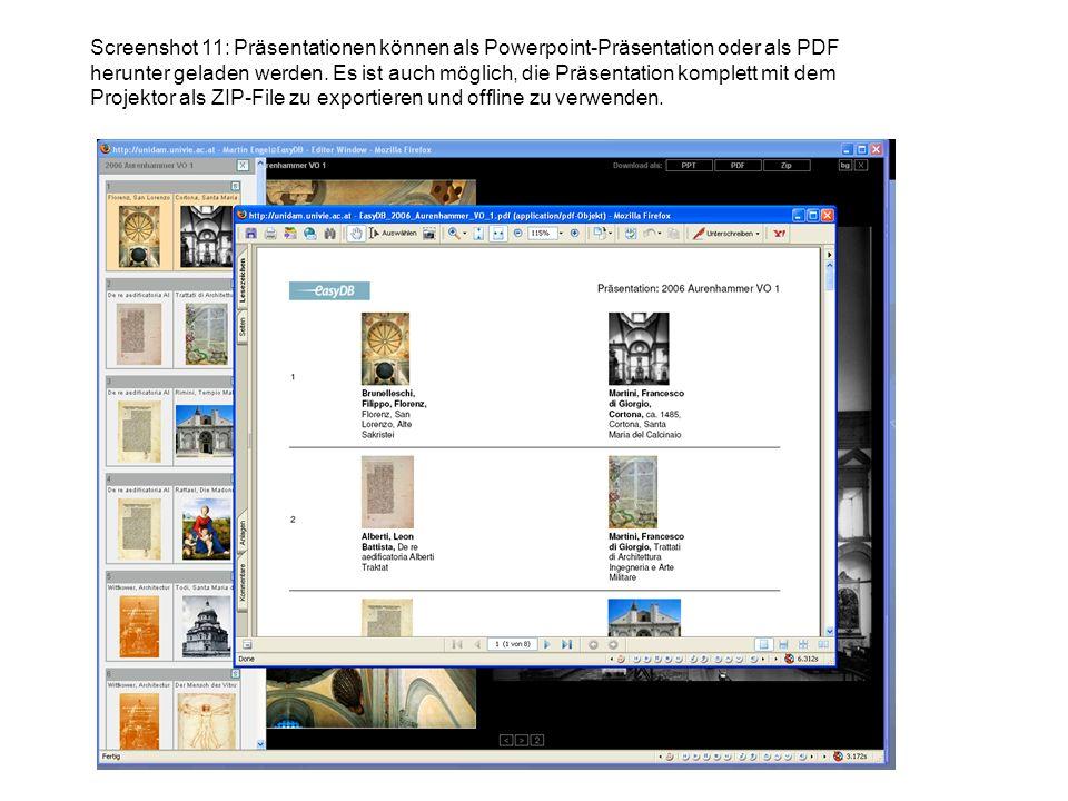 Screenshot 11: Präsentationen können als Powerpoint-Präsentation oder als PDF herunter geladen werden.