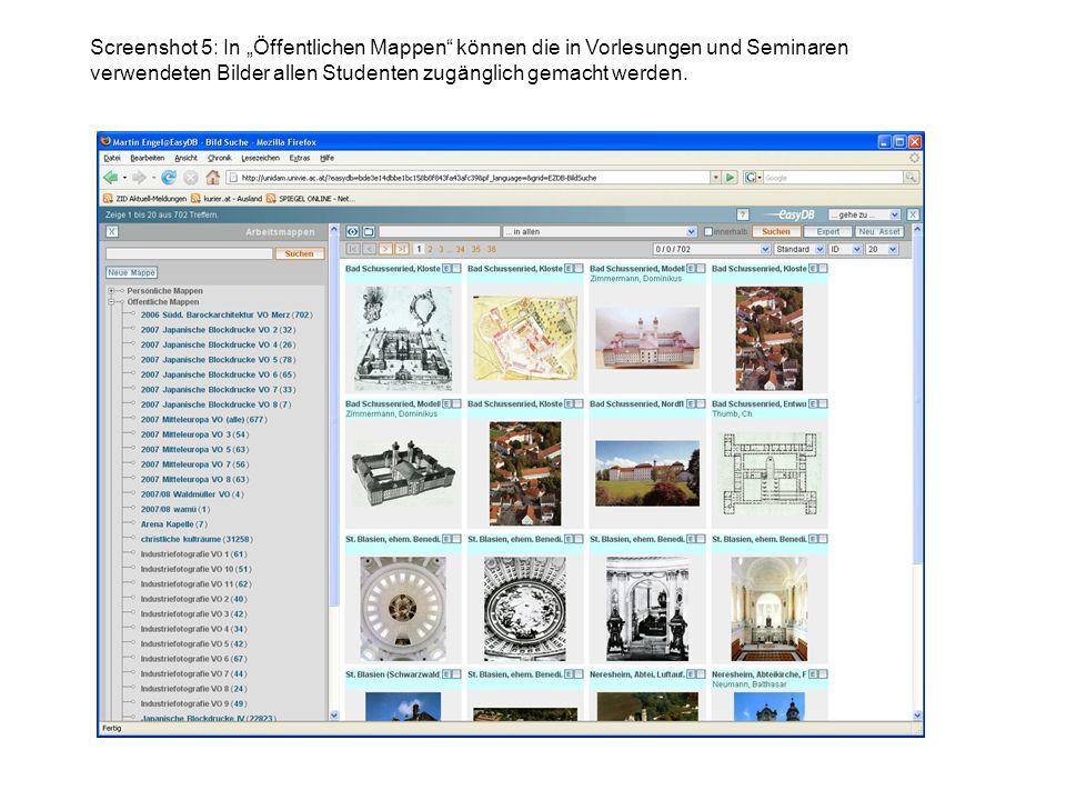 """Screenshot 5: In """"Öffentlichen Mappen können die in Vorlesungen und Seminaren verwendeten Bilder allen Studenten zugänglich gemacht werden."""