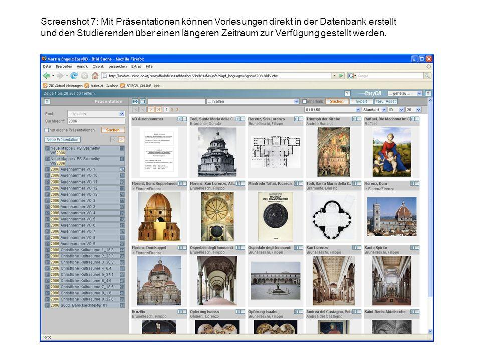 Screenshot 7: Mit Präsentationen können Vorlesungen direkt in der Datenbank erstellt und den Studierenden über einen längeren Zeitraum zur Verfügung gestellt werden.