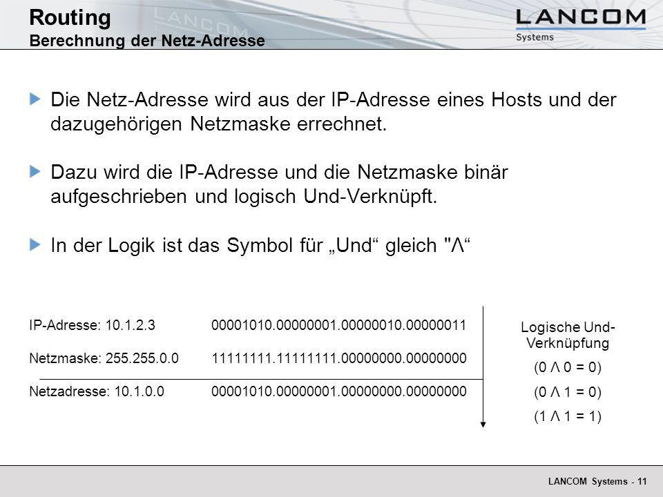 Routing Berechnung der Netz-Adresse