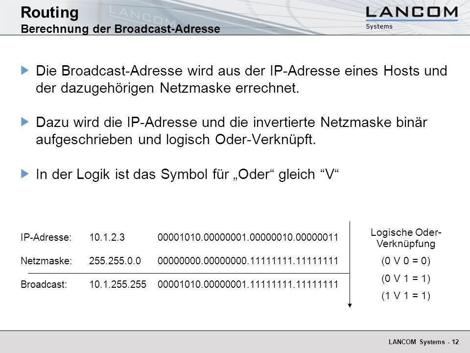 Routing Berechnung der Broadcast-Adresse