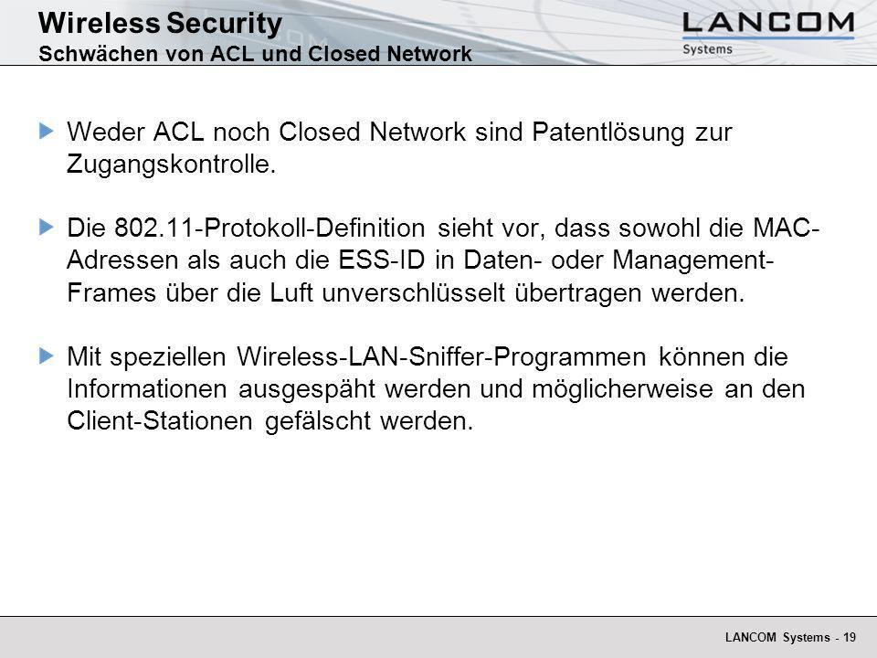 Wireless Security Schwächen von ACL und Closed Network