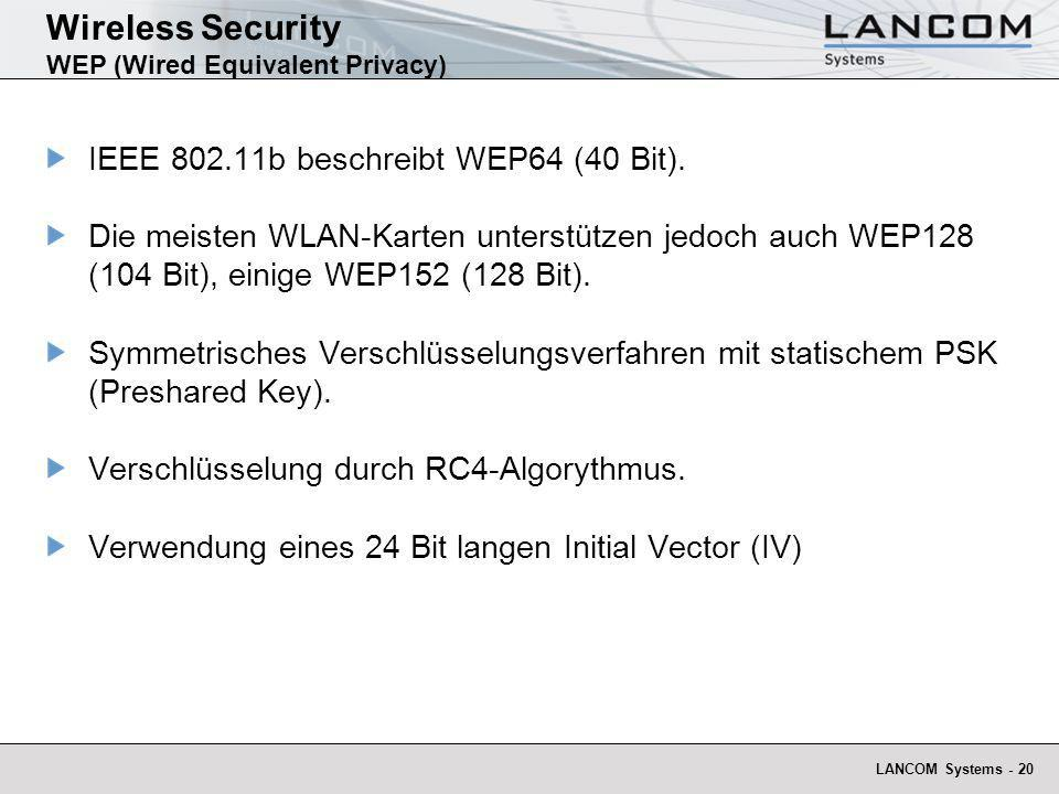 Wireless Security WEP (Wired Equivalent Privacy)