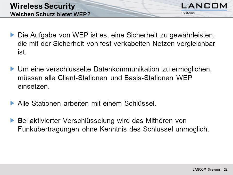 Wireless Security Welchen Schutz bietet WEP