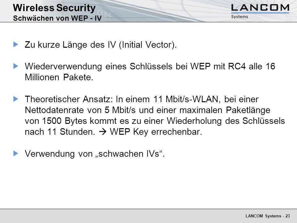 Wireless Security Schwächen von WEP - IV